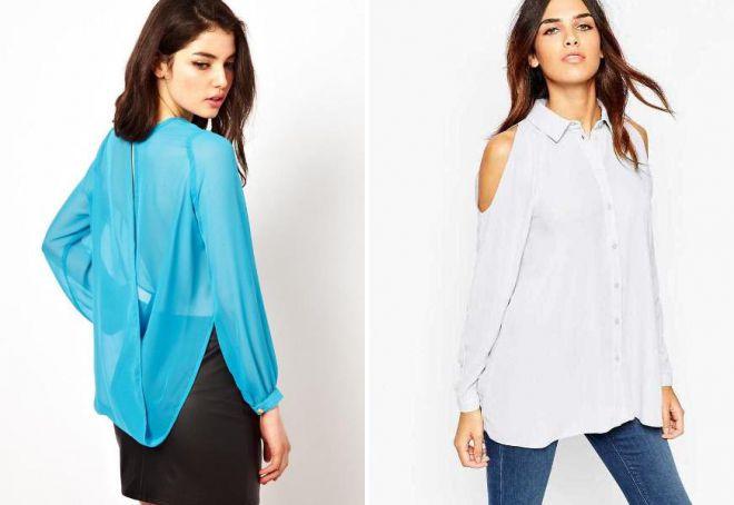 удлиненная блузка из шифона