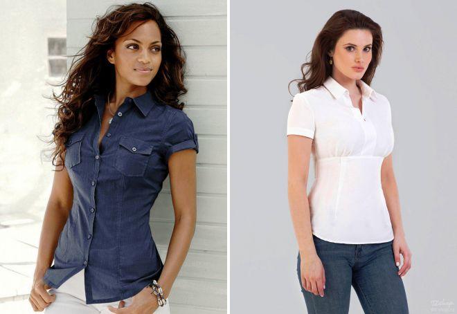 женские летние рубашки с коротким рукавом