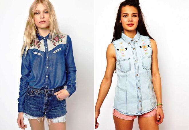 женские джинсовые летние рубашки