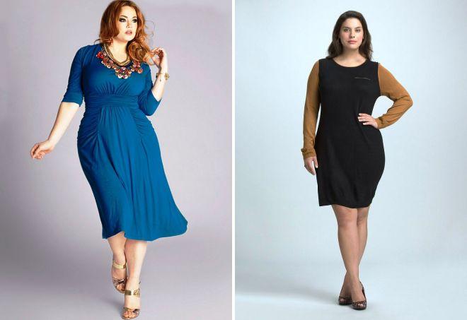 стильные трикотажные платья для полных женщин