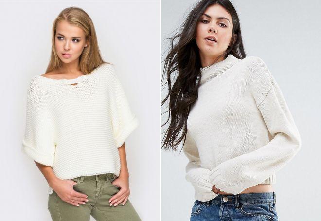 b0be788daae2 Красивый женский белый вязаный свитер – пушистый, объемный, крупной ...