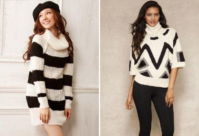 черно белый свитер