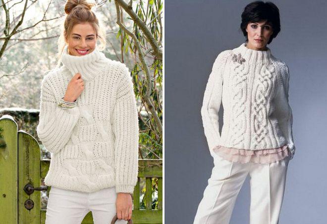 белый теплый свитер