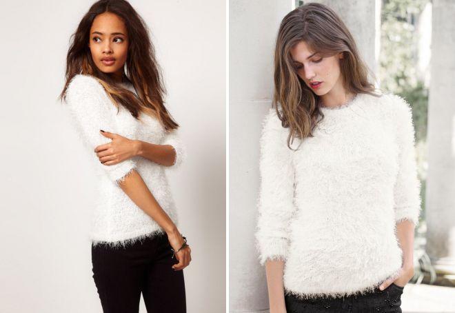 белый пушистый свитер