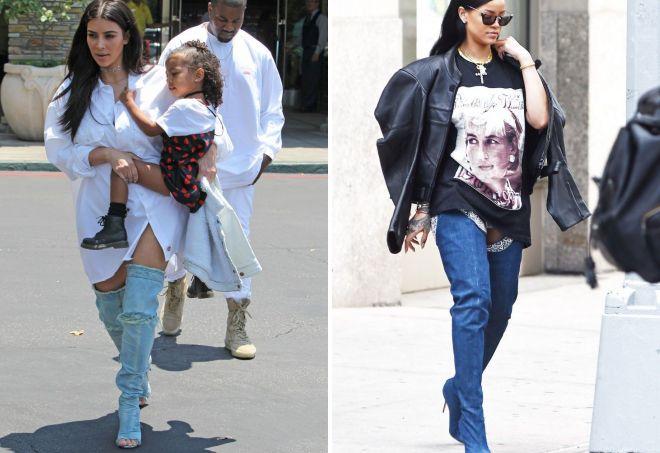 стильные джинсовые сапоги