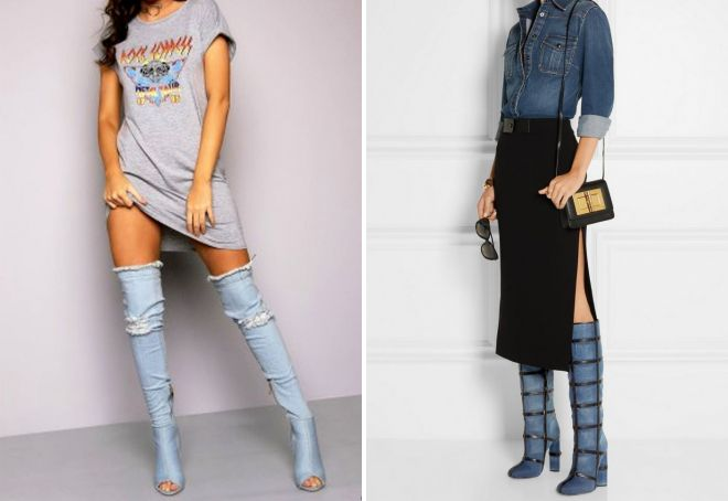 женские джинсовые сапоги