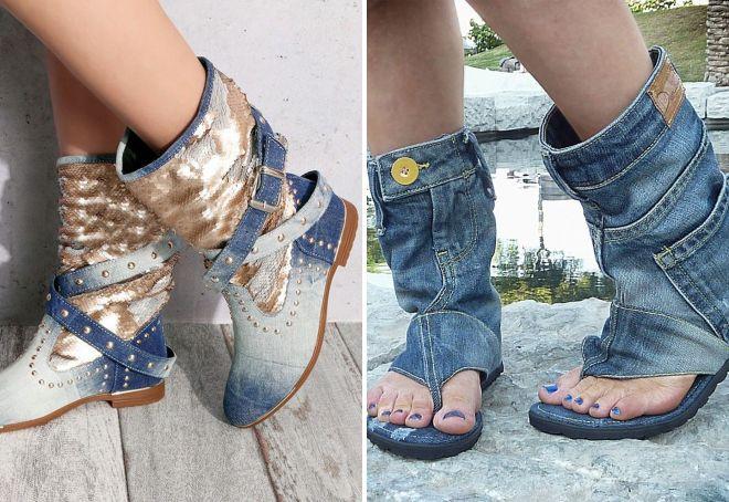 джинсовые сапоги без каблука