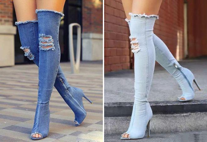 джинсовые сапоги ботфорты