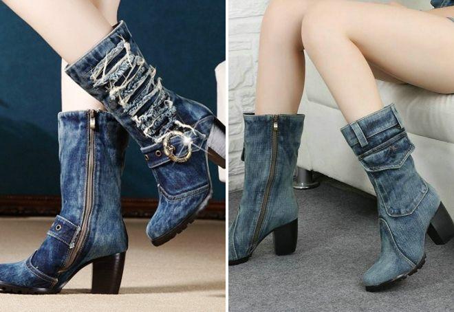 джинсовые сапоги на каблуке