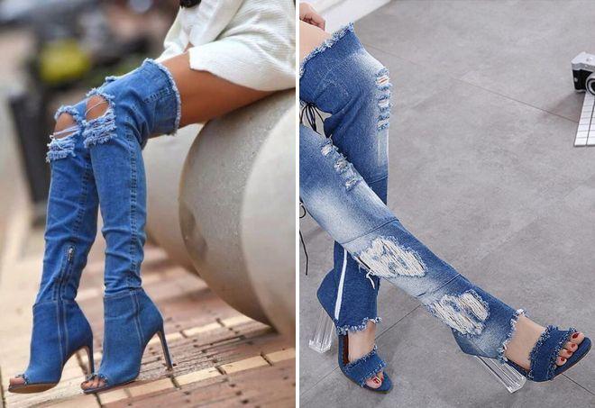 рваные джинсовые сапоги