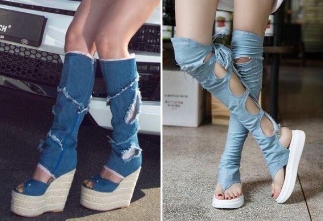 джинсовые сапоги на платформе