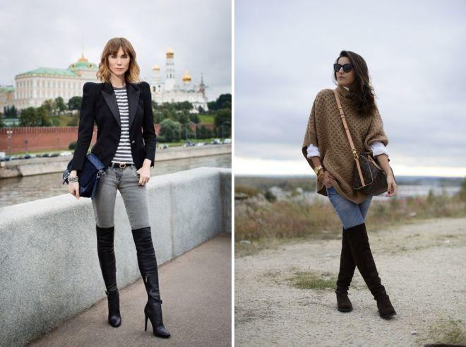 С чем носить ботфорты – на каблуке и без, с широким голенищем, стильные образы с ботфортами