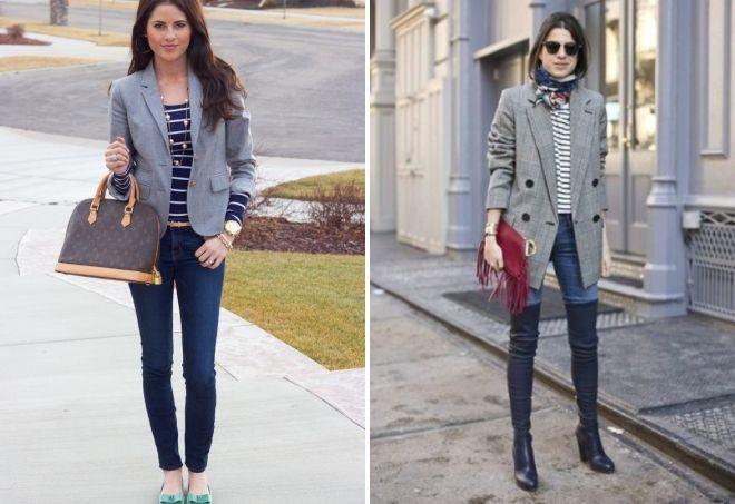 серый пиджак с джинсами