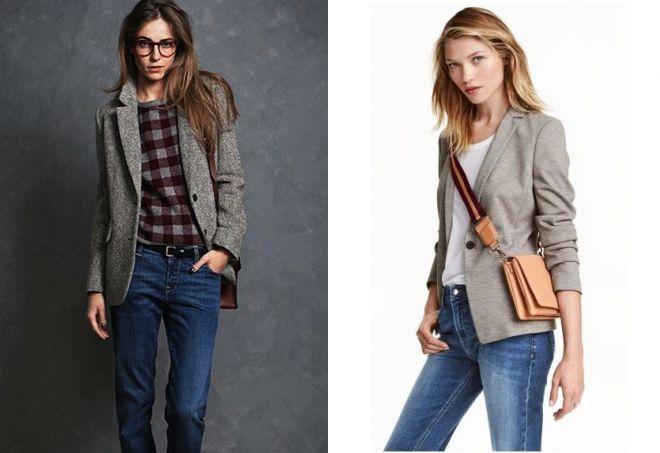 женский серый пиджак с джинсами
