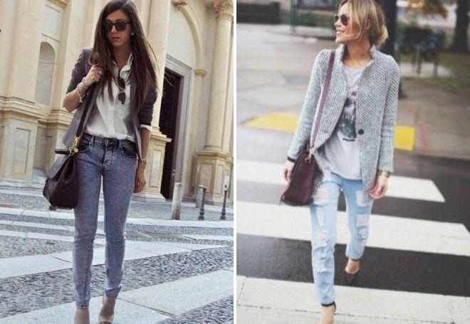 сочетание с серым пиджаком