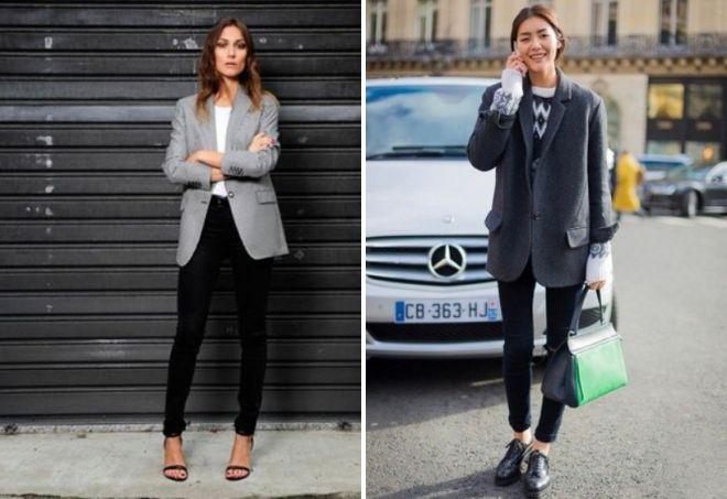 обувь под серый пиджак женщине