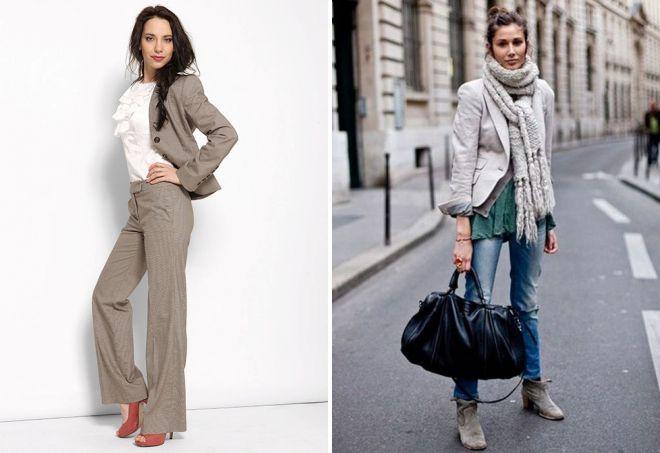 с чем носить серый пиджак девушкам