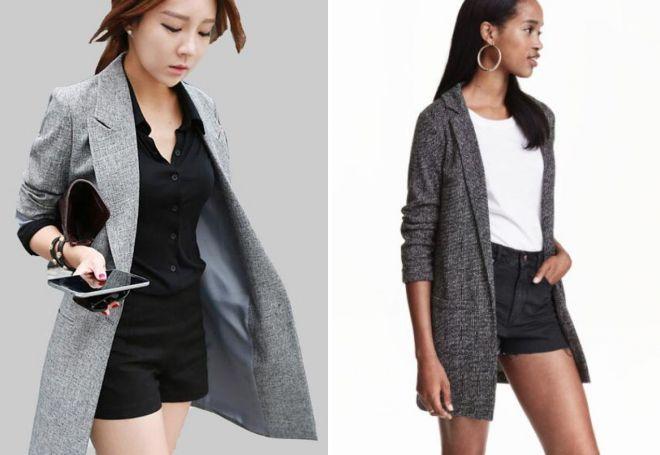 серый удлиненный пиджак