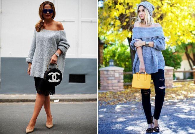 с чем носить свитер с открытыми плечами