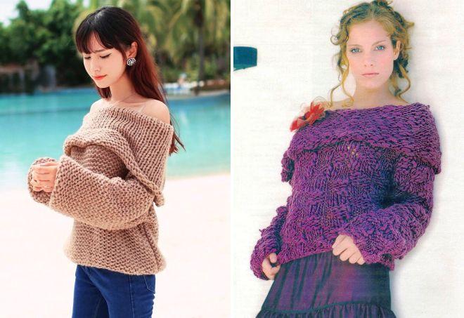 свитер крупной вязки с открытыми плечами