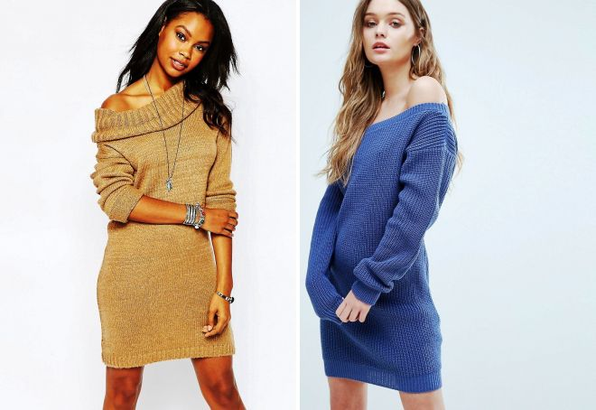 платье свитер на одно плечо