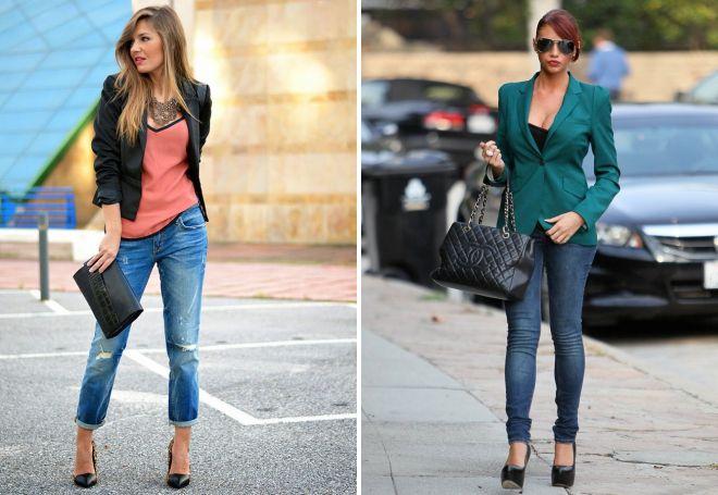 женские джинсы с пиджаком