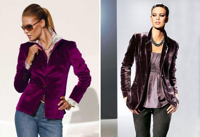 женский бархатный пиджак