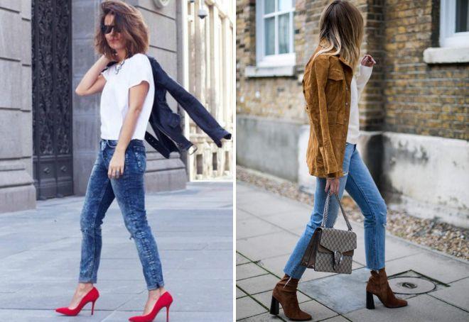 джинсы с обувью на каблуках