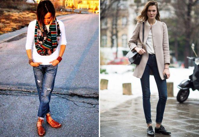 джинсы и обувь на плоской подошве