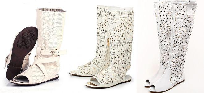 eecc1cf939c7 Модные женские белые сапоги – зимние, летние, демисезонные, кожаные ...