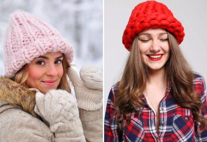 модная женская шапка крупной вязки из толстой пряжи с отворотом