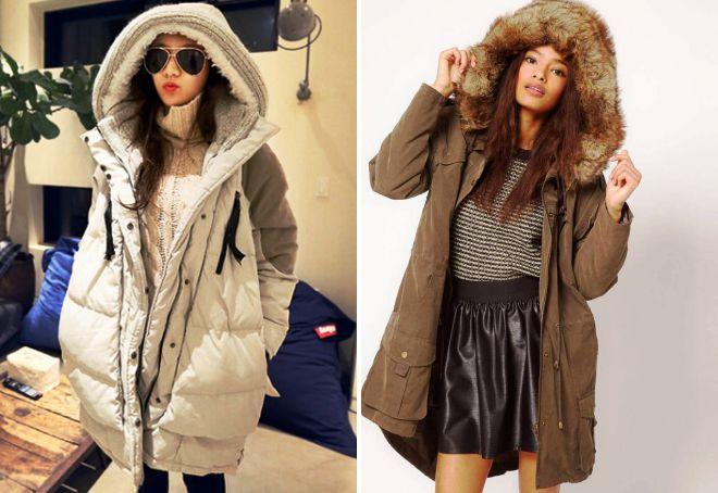 зимние куртки с большим капюшоном