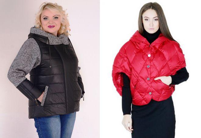 зимняя куртка с трикотажными рукавами и капюшоном
