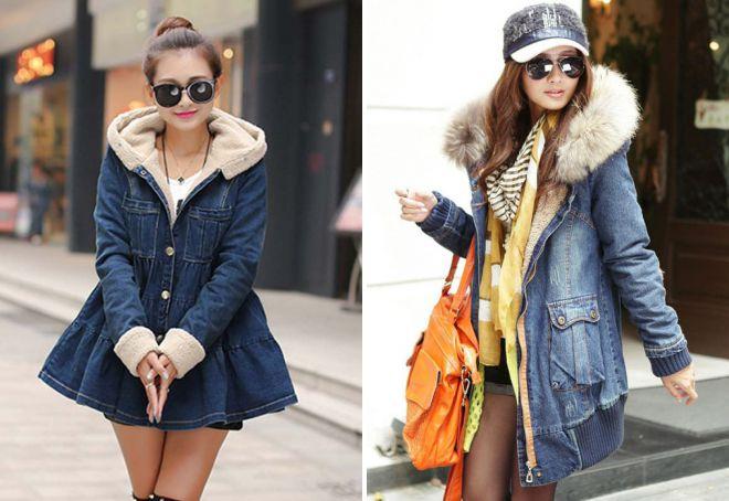 зимняя джинсовая куртка с капюшоном