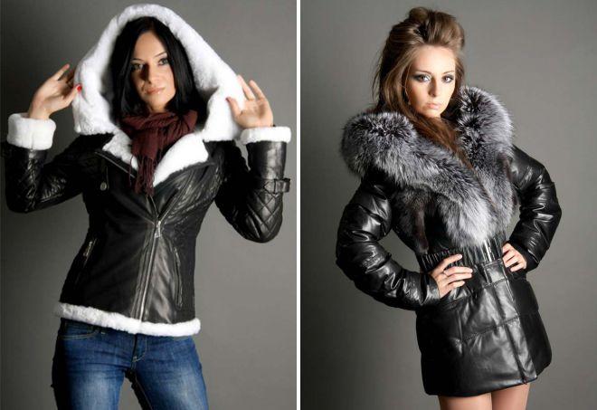 женская зимняя кожаная куртка с капюшоном