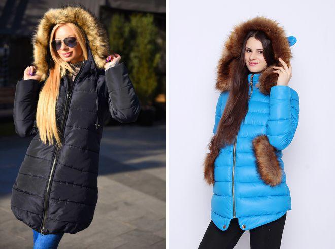 женская зимняя куртка с меховым капюшоном