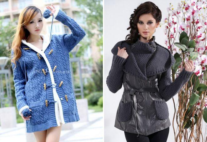 зимние вязаные куртки с капюшоном