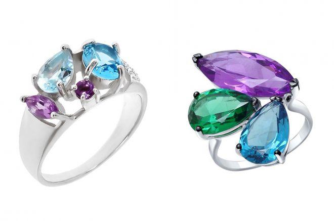кольцо с аметистом и аквамарином