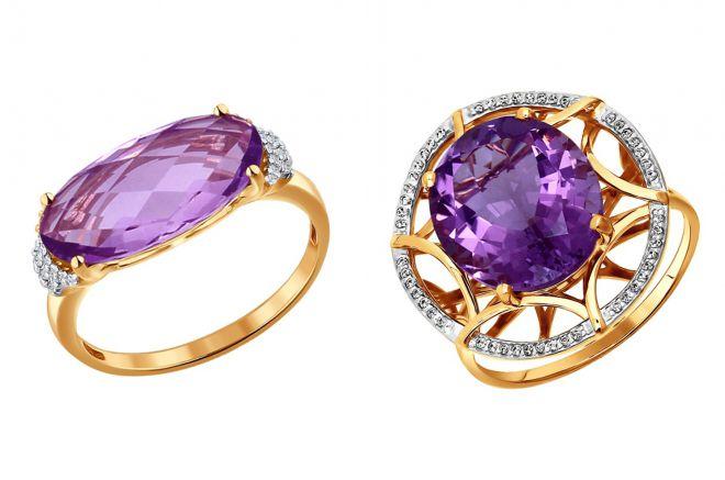 кольцо с крупным аметистом