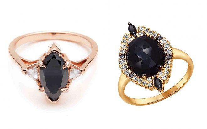 кольцо с черным аметистом