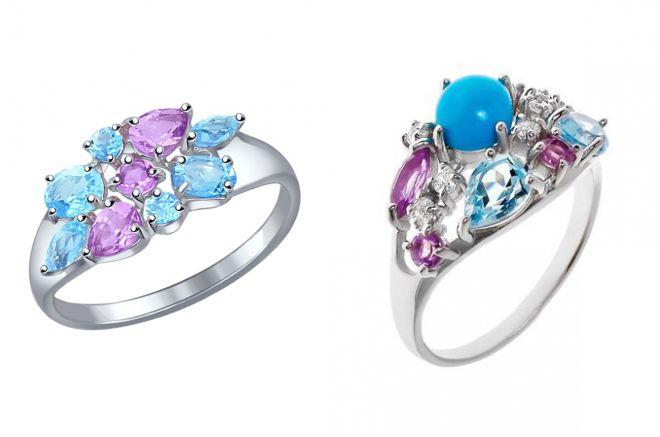 кольцо с топазом и аметистом