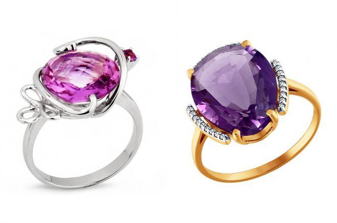 женские кольца с аметистом