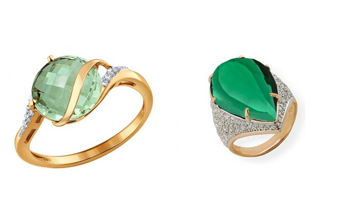 золотое кольцо с зеленым аметистом