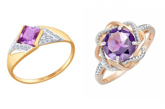 кольцо с аметистом в золоте