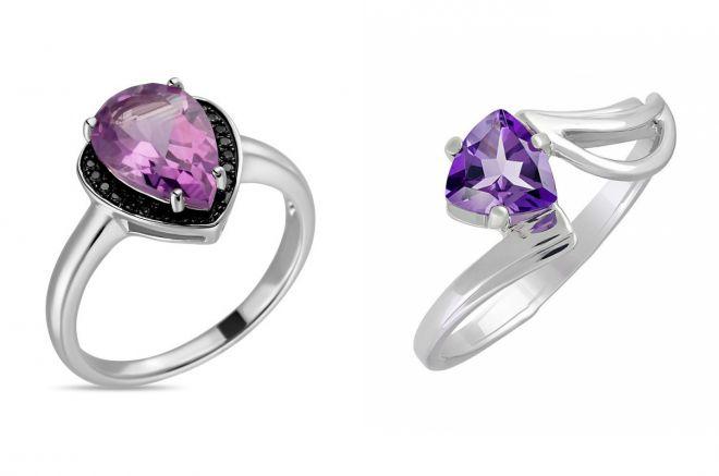 кольцо с аметистом из серебра