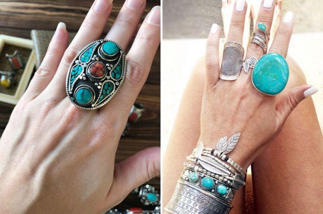 массивное кольцо с бирюзой