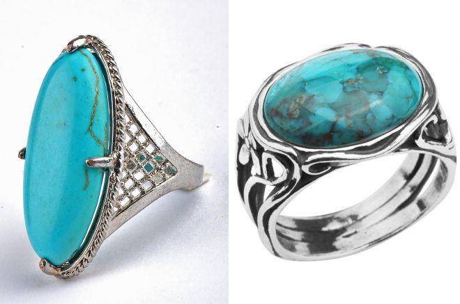 кольцо с крупной бирюзой