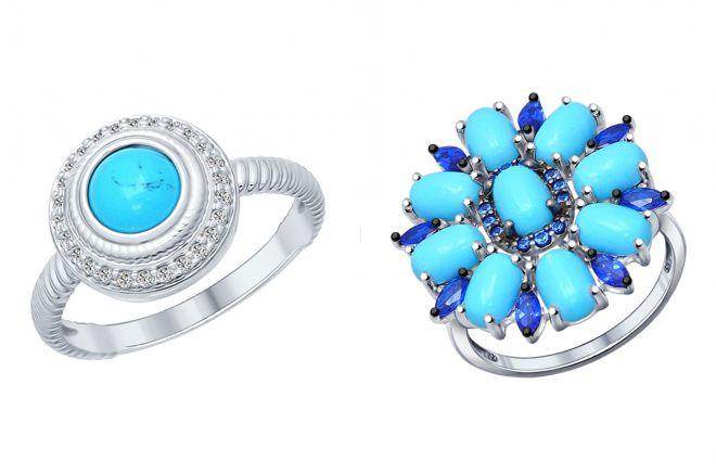 кольцо с бирюзой и фианитами