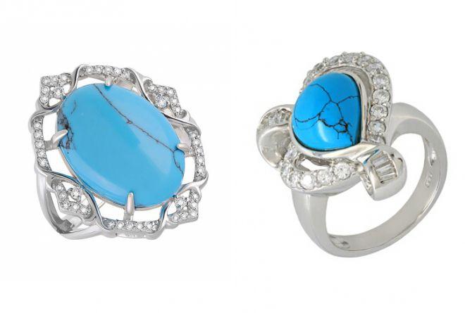 модное кольцо с бирюзой