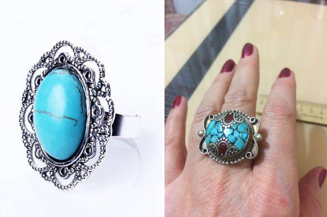 винтажное кольцо с бирюзой